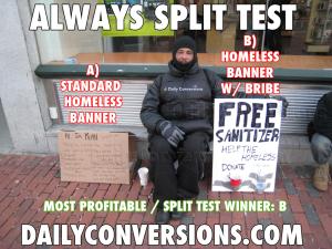 A/B testování u bezdomovců
